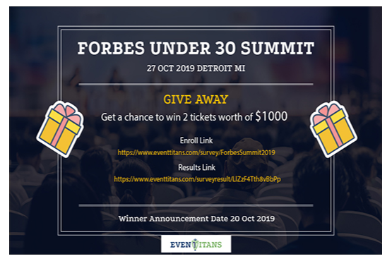 eventtitans forbes under 30 giveaway